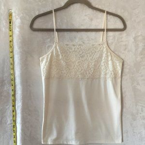 BOUTIQUE ESSENTIALS White/Ivory Lace Camisole